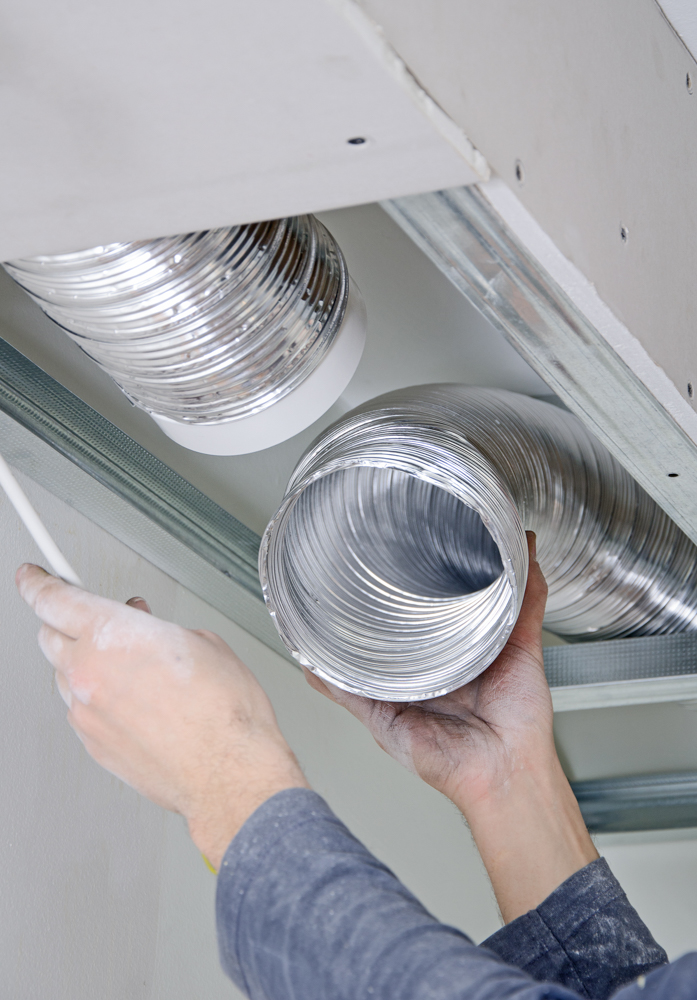 setting up ventilation system indoors
